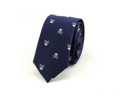 Cravate-Tete-de-Mort-Zaita-Bleu
