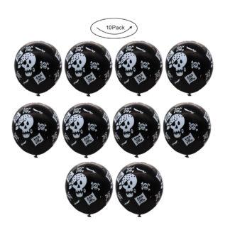 Lot-10-Ballons-Tete-de-Mort-Noir
