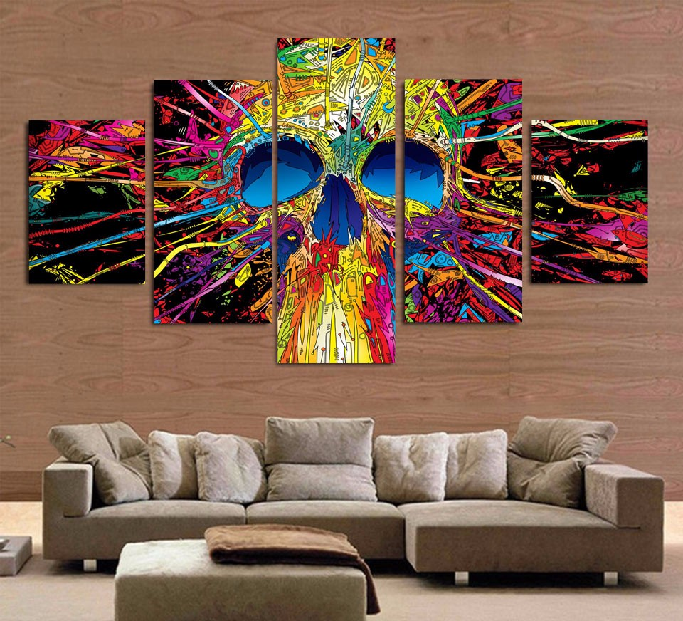 ensemble de 5 toiles t te de mort haiza tableau univers. Black Bedroom Furniture Sets. Home Design Ideas