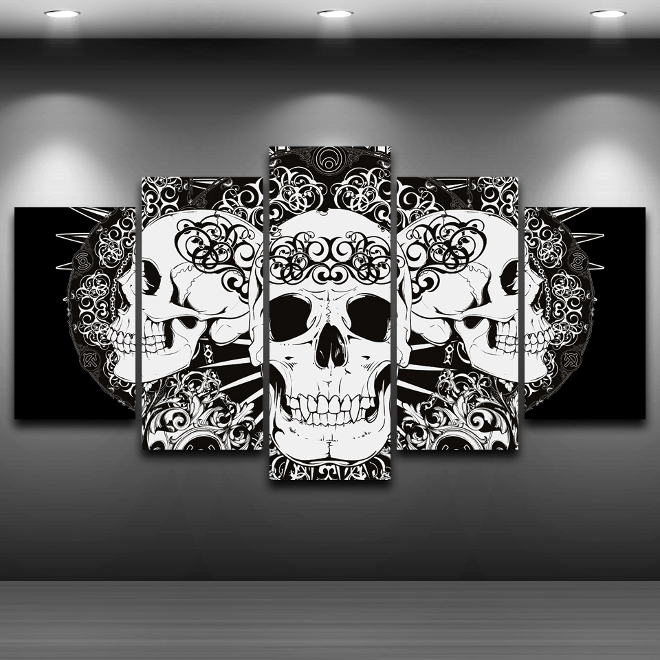 ensemble de 5 toiles t te de mort ibone tableau univers. Black Bedroom Furniture Sets. Home Design Ideas