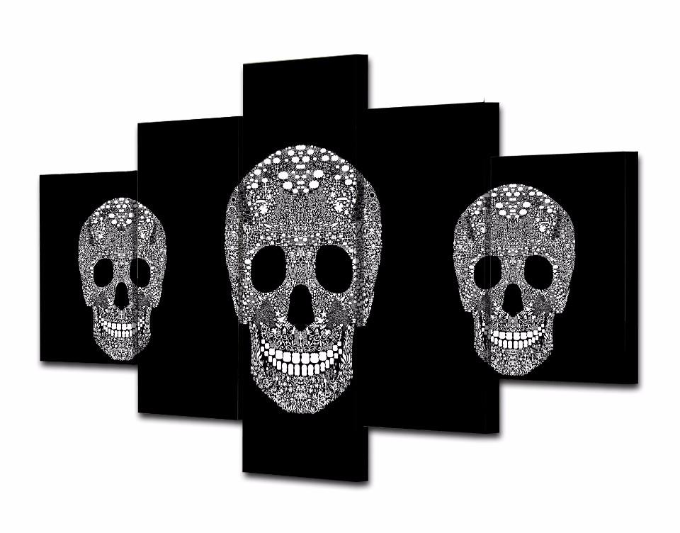 ensemble de 5 toiles t te de mort kalipso tableau skull. Black Bedroom Furniture Sets. Home Design Ideas