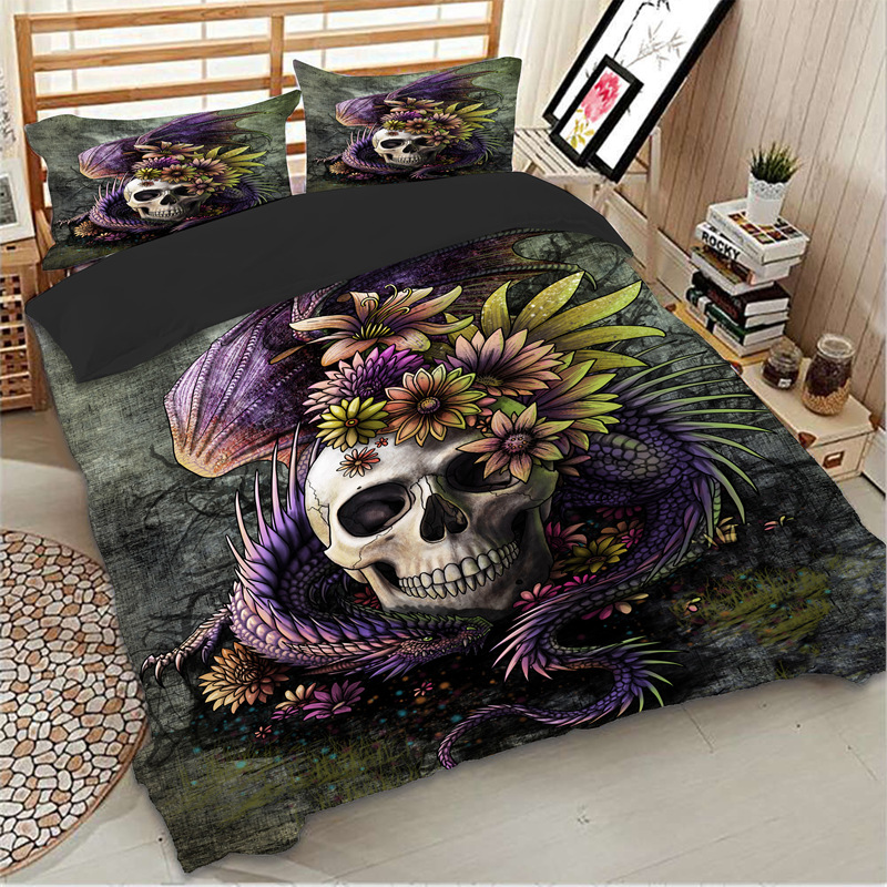 housse de couette t te de mort atecar oreillers skull univers tete de. Black Bedroom Furniture Sets. Home Design Ideas