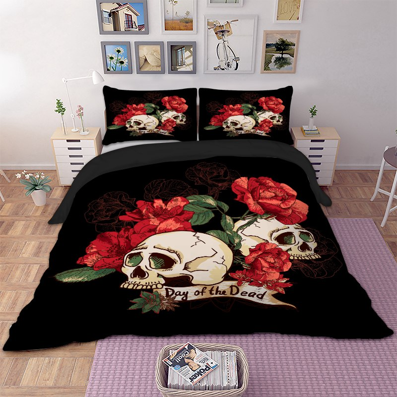 housse de couette t te de mort atomi oreillers skull univers tete de. Black Bedroom Furniture Sets. Home Design Ideas
