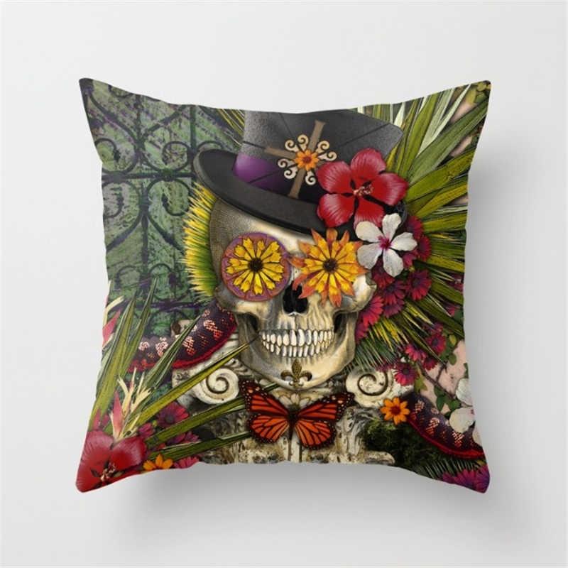 coussin motif t te de mort pas cher coussin de d coration. Black Bedroom Furniture Sets. Home Design Ideas